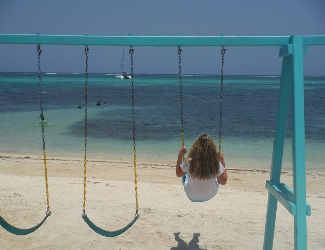 LINDZ SWINGING ON BEACH - BELIZE